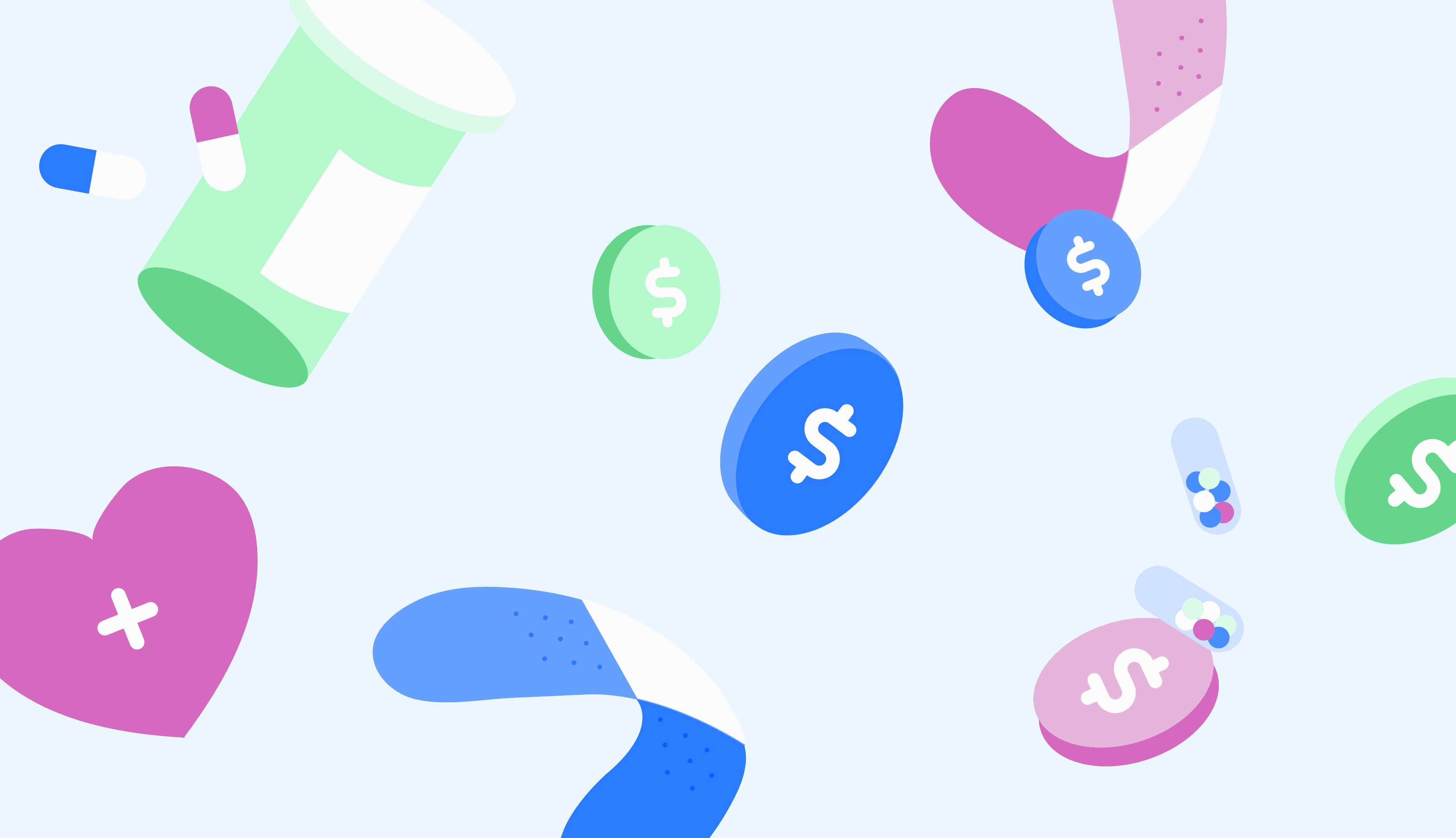 Title: What's a Health Savings Account? Graphic: blue background with floating pills, coins, and bandagess