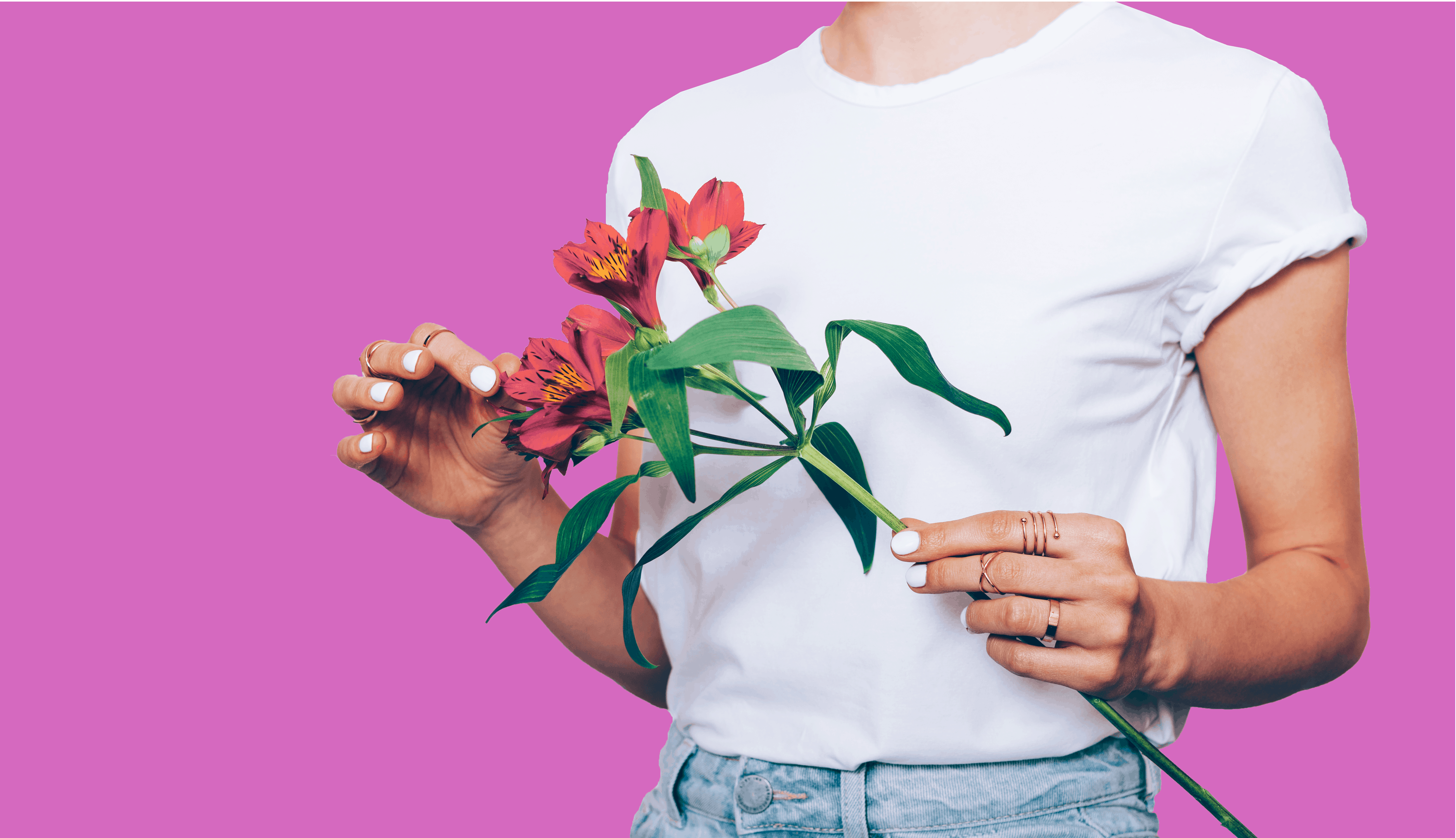 Title: Spring is Here … and So Are Allergies Graphic: pink background with millennial person holding flowers