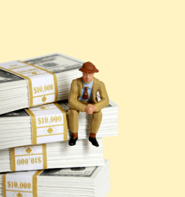 Title: HSAs are Helping Gig Workers Prep for Retirement Graphic: person sitting on stack on money thinking about retirement