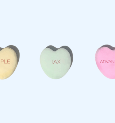 candy hearts on a blue background