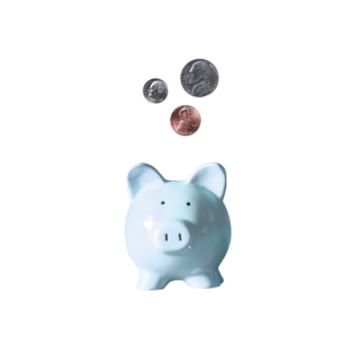 Piggy bank and coins on a pink background.