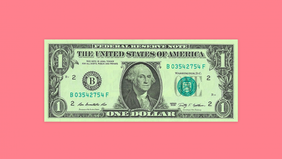 One dollar bill on a pink background.