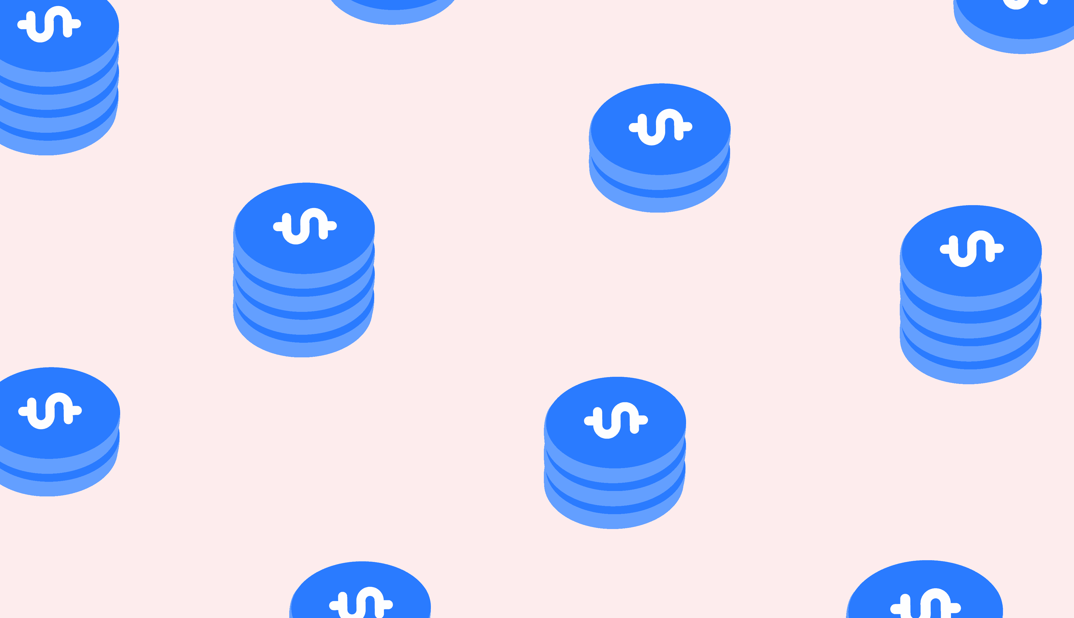 coins on pink background