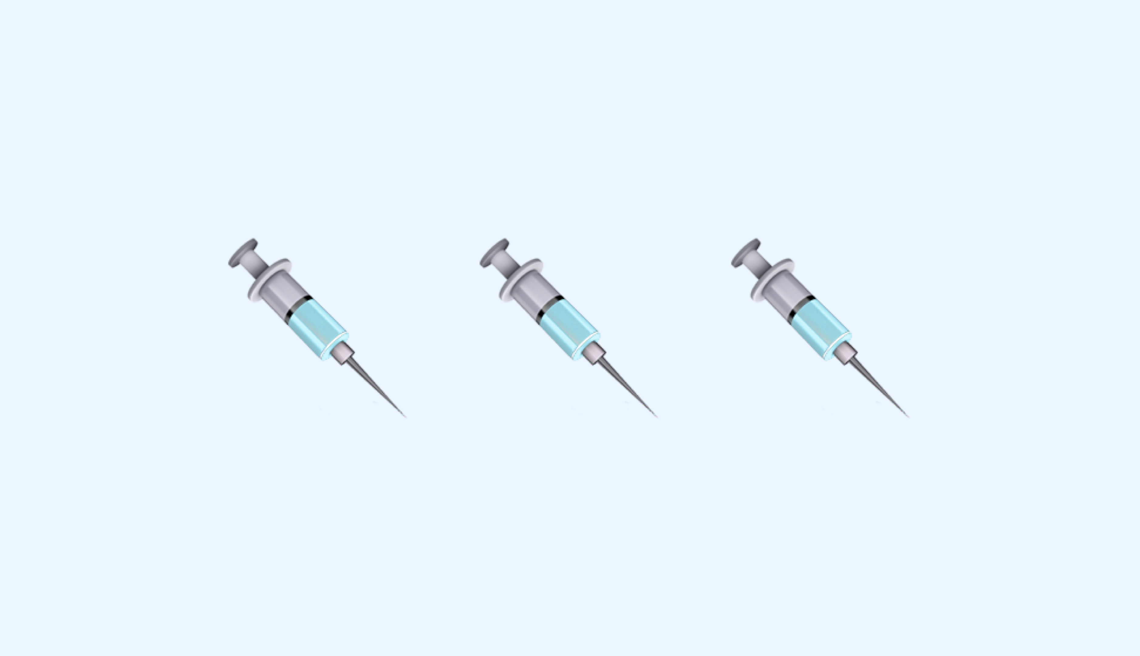 syringe emoji on blue background