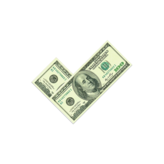 Dollar bills arranged in a checkmark on a yellow background.