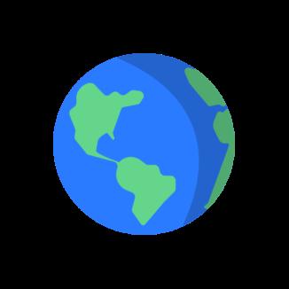 A globe on a pink background.