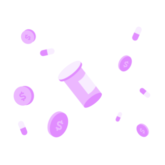 Coins and pill bottle floating on a pink background.