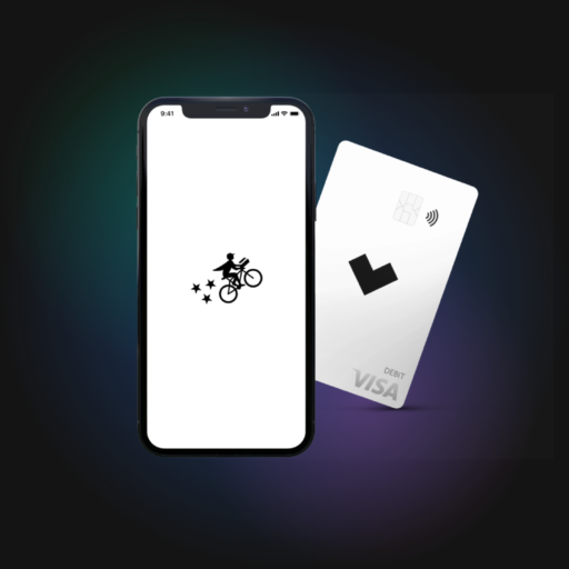 Postmates app and Starship card on a black background.