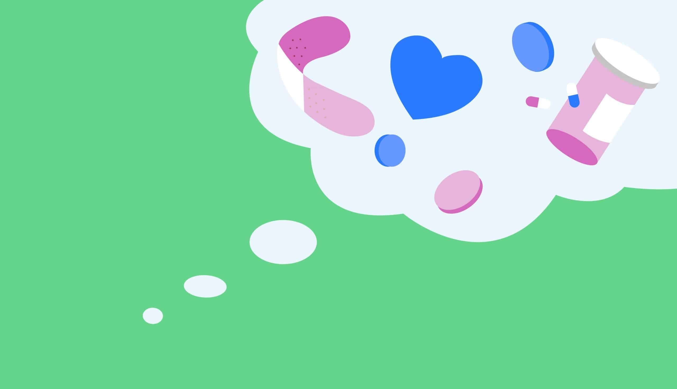 thought bubble on green background
