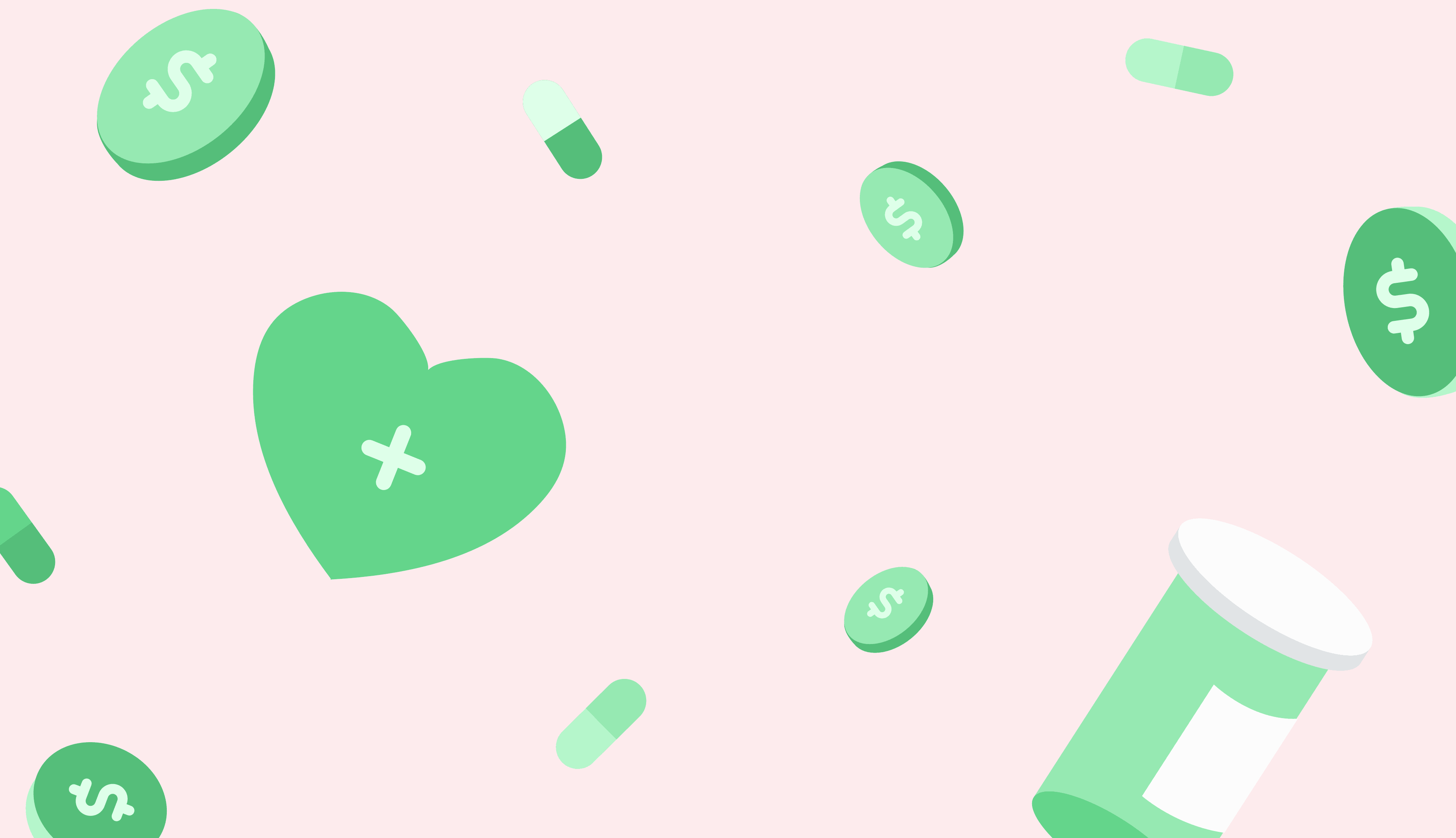 green hearts and pills on pink background