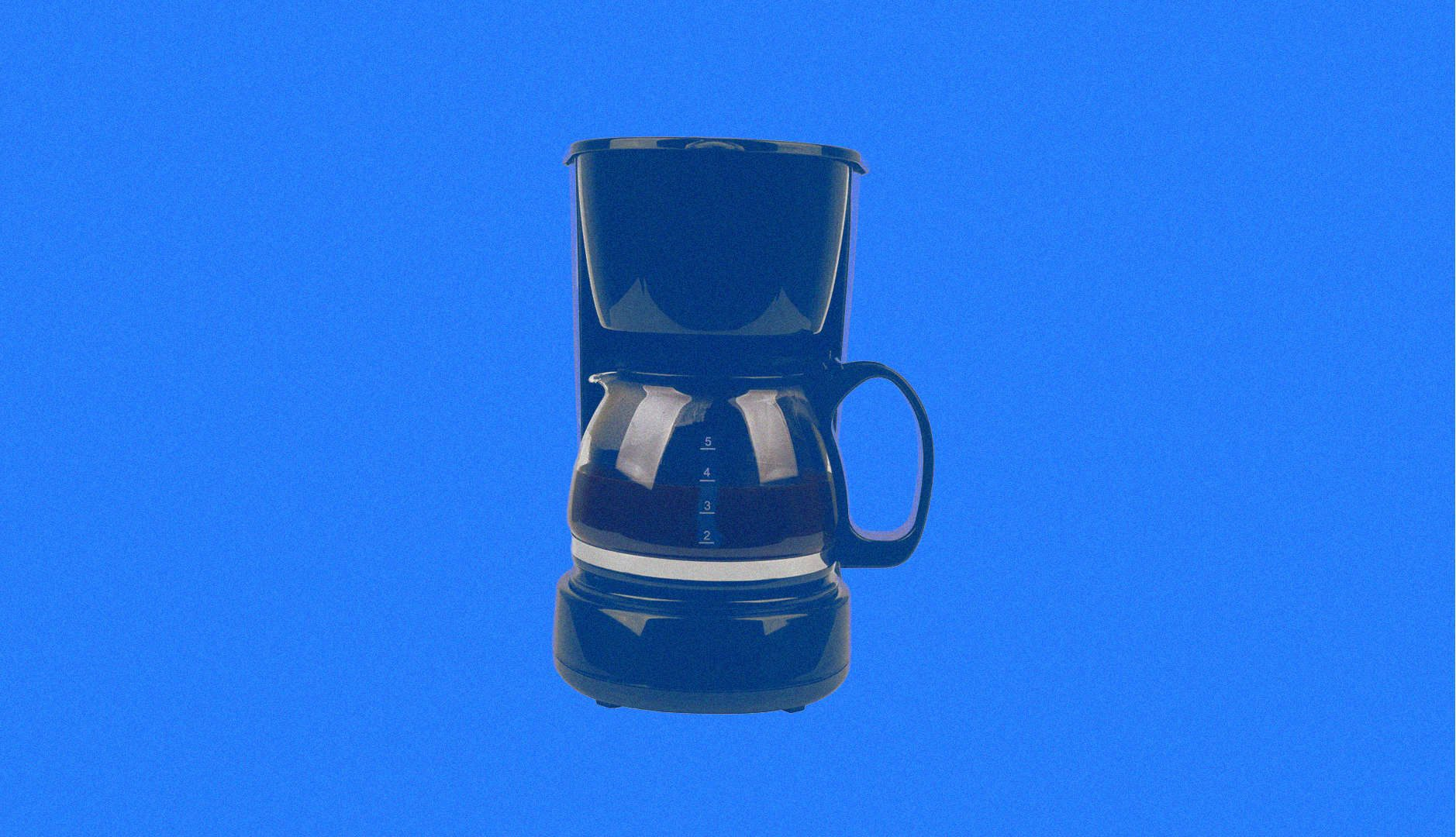 coffee pot on blue background