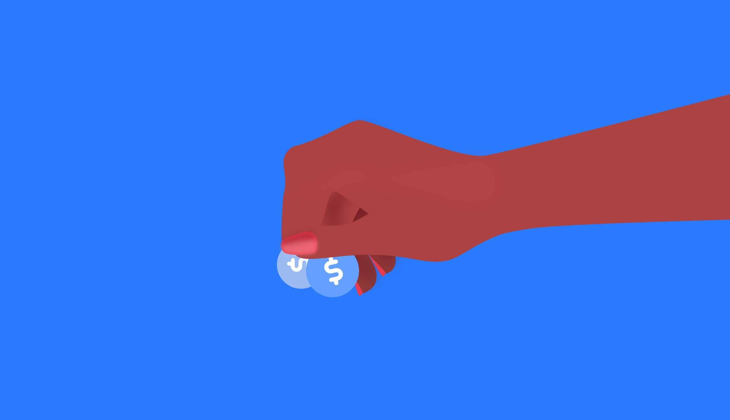 hand holding coins on a blue background