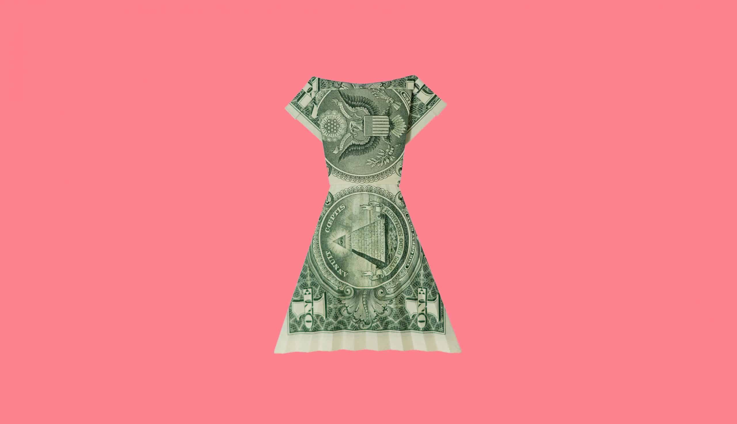 dollar dress on pink background