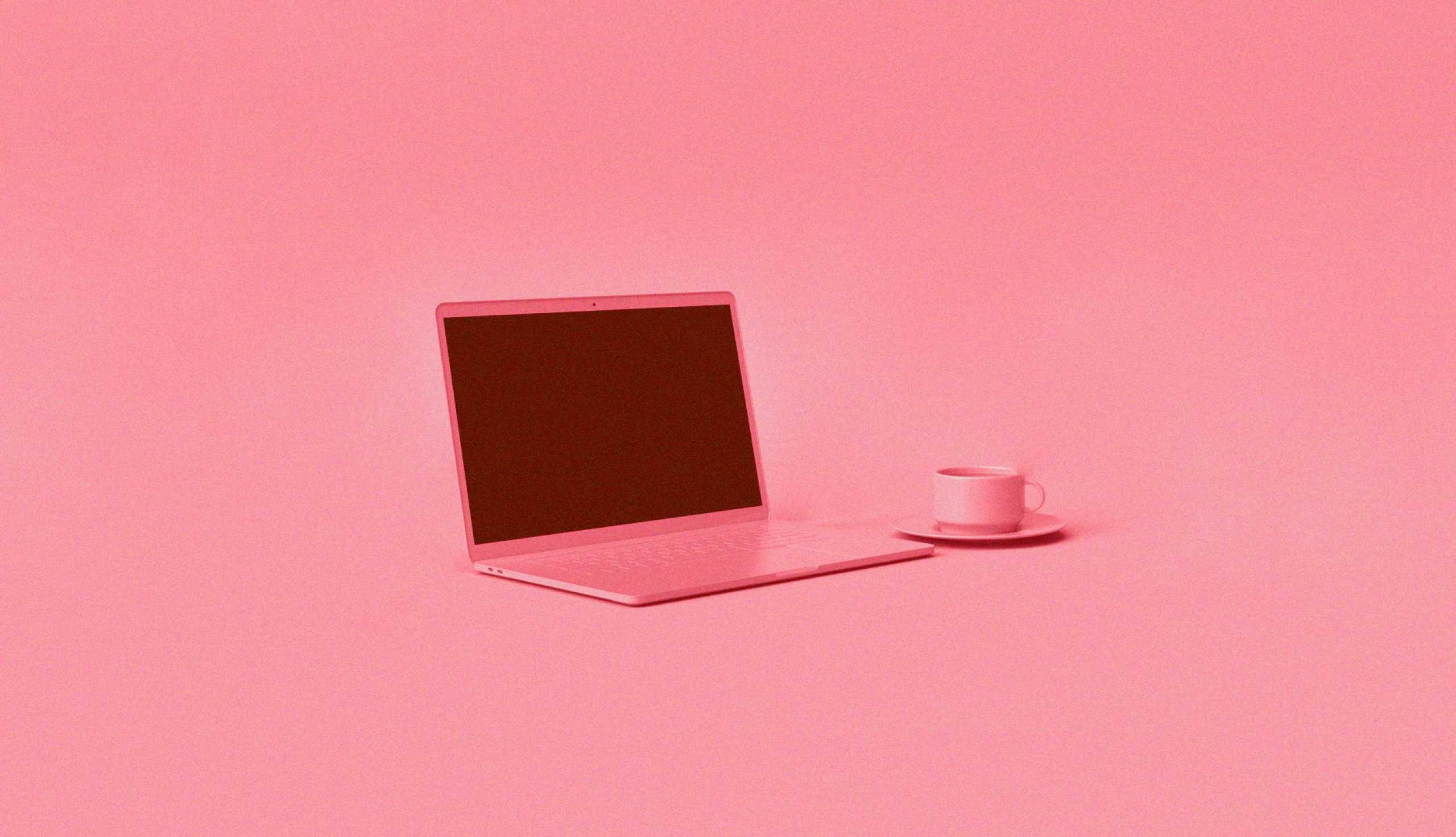 computer on pink background